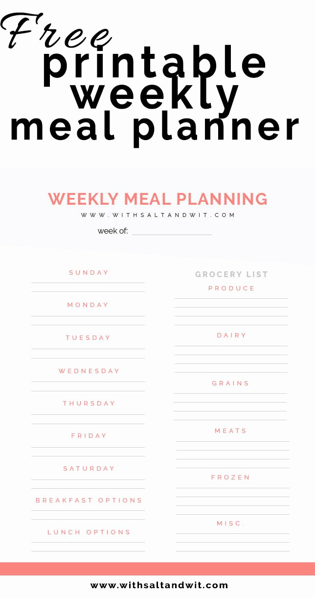 Free Printable Meal Plan Template Luxury Free Printable Weekly Meal Planner with Grocery List