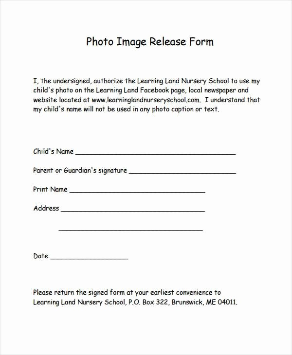 Free Printable Print Release form Awesome 8 Image Release form Samples Free Sample Example