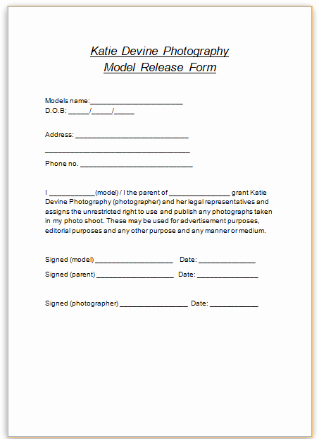 Free Printable Print Release form Awesome Katie Devine Graphy Model Release forms