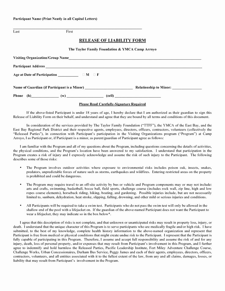 Free Printable Print Release form Awesome Printable Sample Liability form form