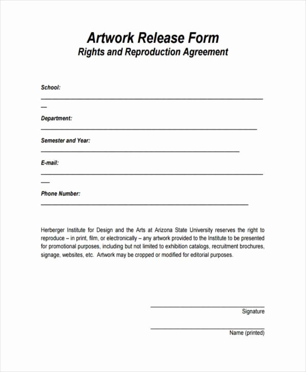 Free Printable Print Release form Beautiful 9 Artwork Release form Samples Free Sample Example