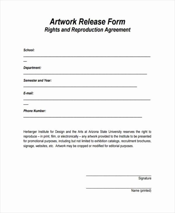 Free Printable Print Release form Beautiful 9 Artwork Release form Samples Free Sample Example