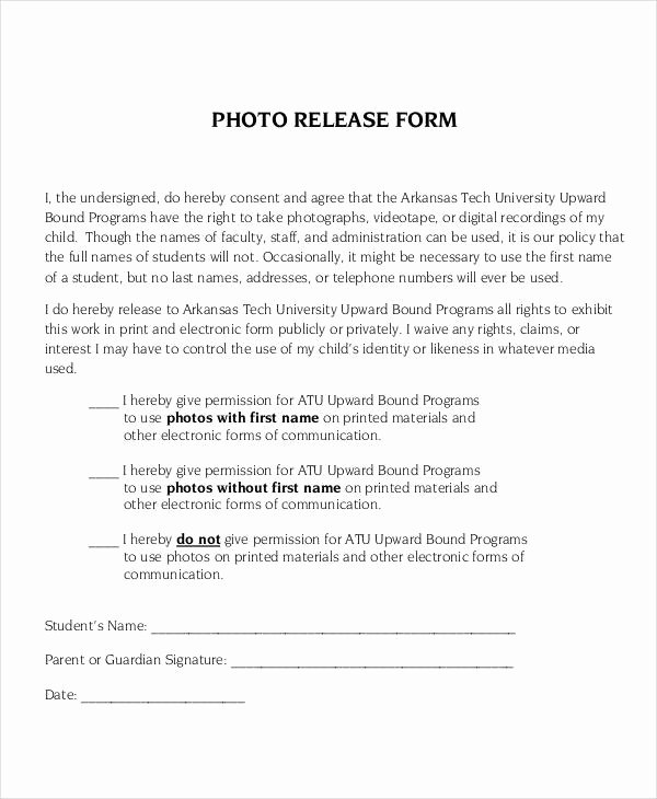 photo release form template