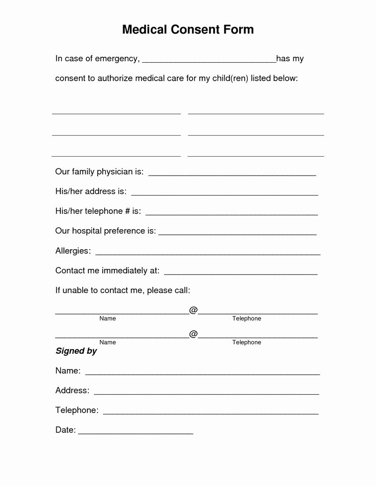 Free Printable Print Release form Elegant Free Printable Medical Consent form