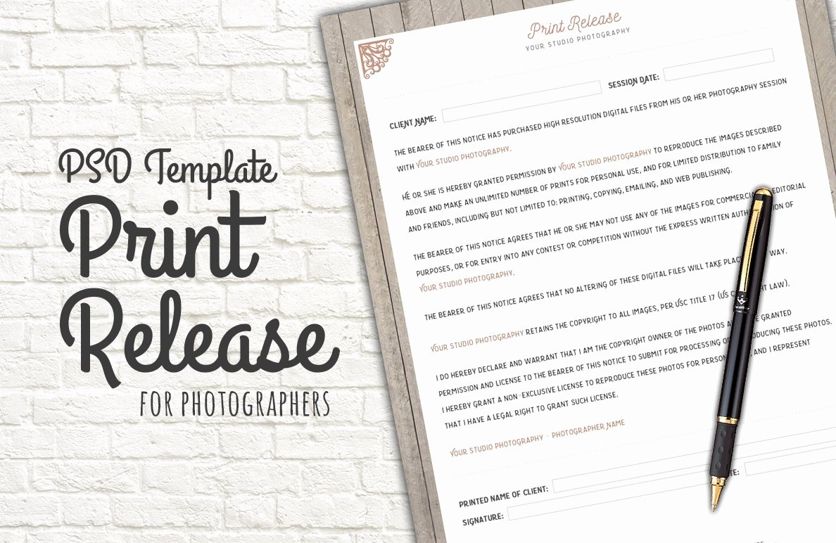 Free Printable Print Release form New Print Release form Template Templates Creative