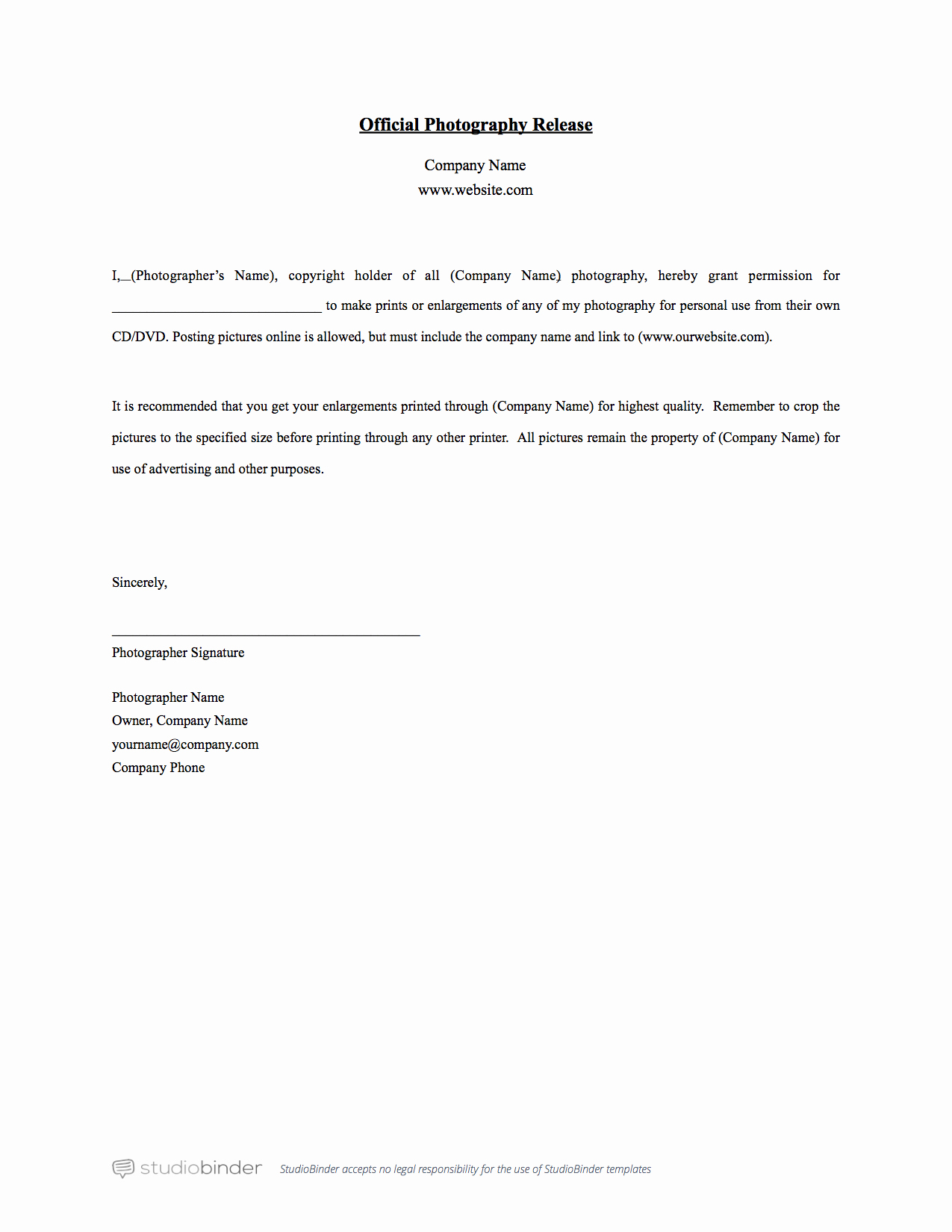 Free Printable Print Release form New why You Should Have A Release form Template