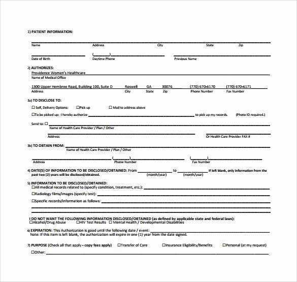 Free Printable Print Release form Unique 8 Generic Medical Records Release form