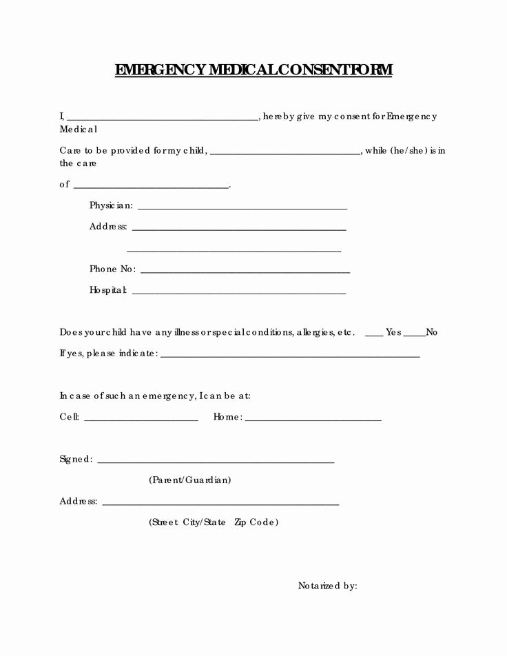 Free Printable Print Release form Unique Free Printable Medical Consent form