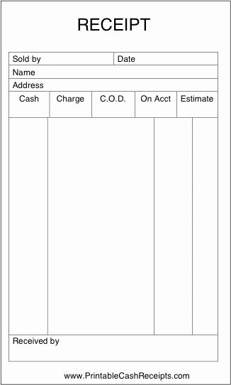 Free Printable Sales Receipt Inspirational A Basic Sales Receipt that is Unlined and Has Room to Note