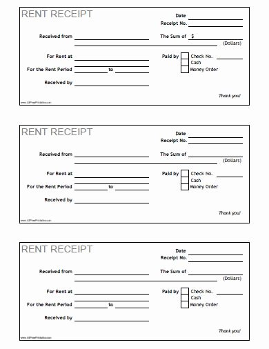 Free Rent Receipt form Fresh Rent Receipt Free Printable Allfreeprintable