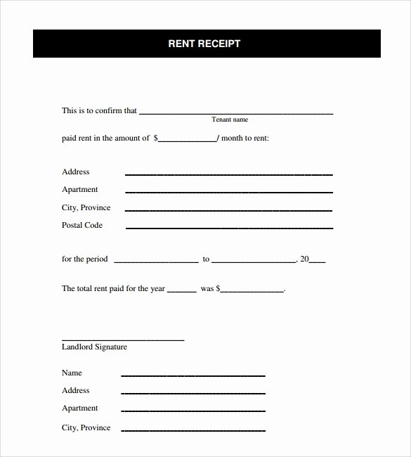 Free Rent Receipt form Lovely 8 Rent Receipt Templates – Free Samples Examples & format