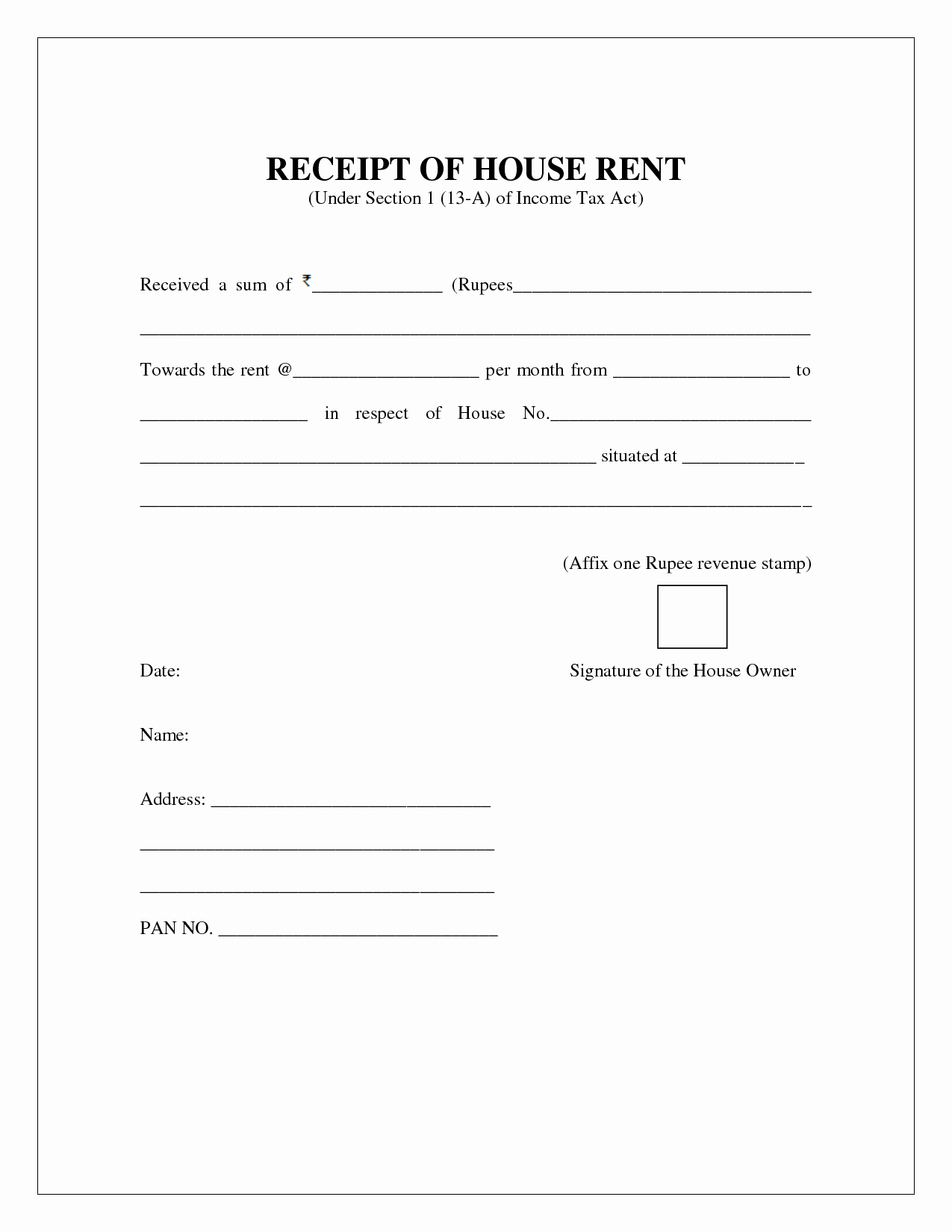 Free Rent Receipt Template Pdf Fresh Free House Rental Invoice House Rent Receipt