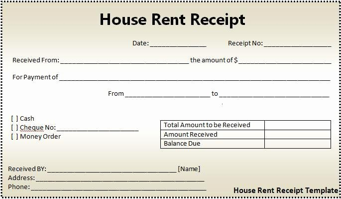 Free Rent Receipt Template Word New House Rent Receipt format