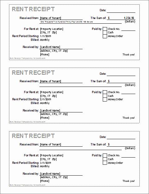 Free Rent Receipt Template Word Unique Rent Receipt Template for Excel