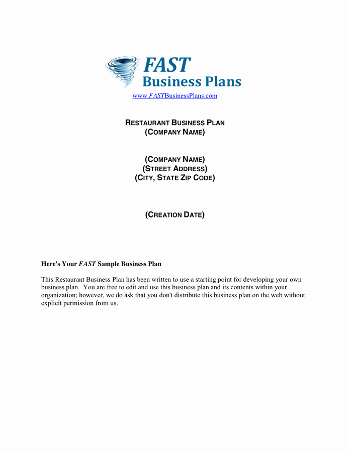 Free Restaurant Business Plan Template Awesome Restaurant Business Plan Template Free