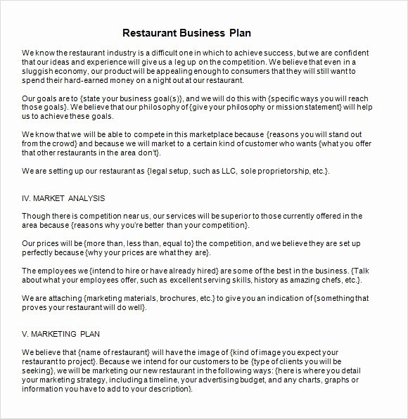 Free Restaurant Business Plan Template Beautiful 32 Free Restaurant Business Plan Templates In Word Excel Pdf