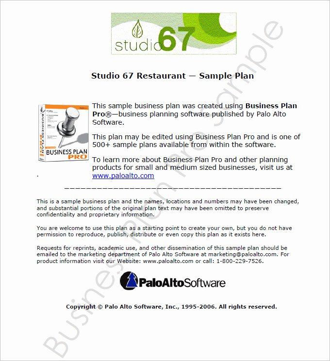 Free Restaurant Business Plan Template Beautiful Restaurant Business Plan Template 9 Free Pdf Word
