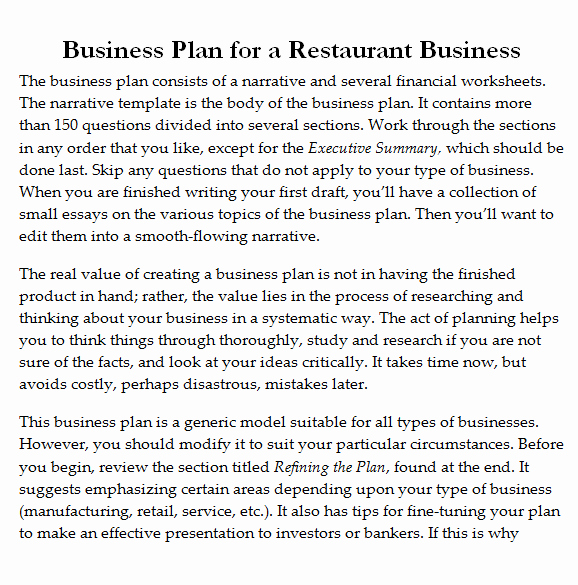 Free Restaurant Business Plan Template Luxury 32 Free Restaurant Business Plan Templates In Word Excel Pdf