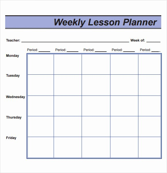 Free Weekly Lesson Plan Template Fresh 10 Sample Lesson Plans
