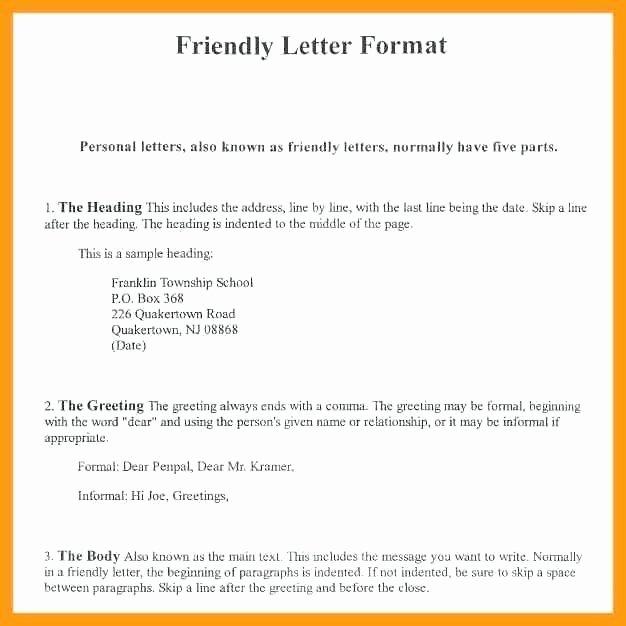 Friendly Letter format Pdf Elegant Informal Friendly Letter format 2018