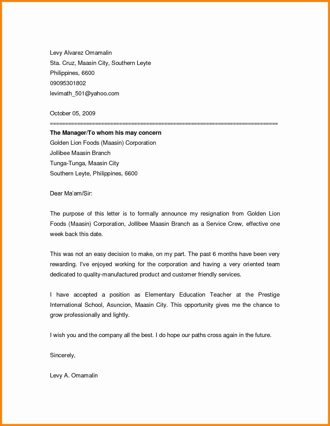 Friendly Letter format Pdf Lovely 13 Friendly Resignation Letters