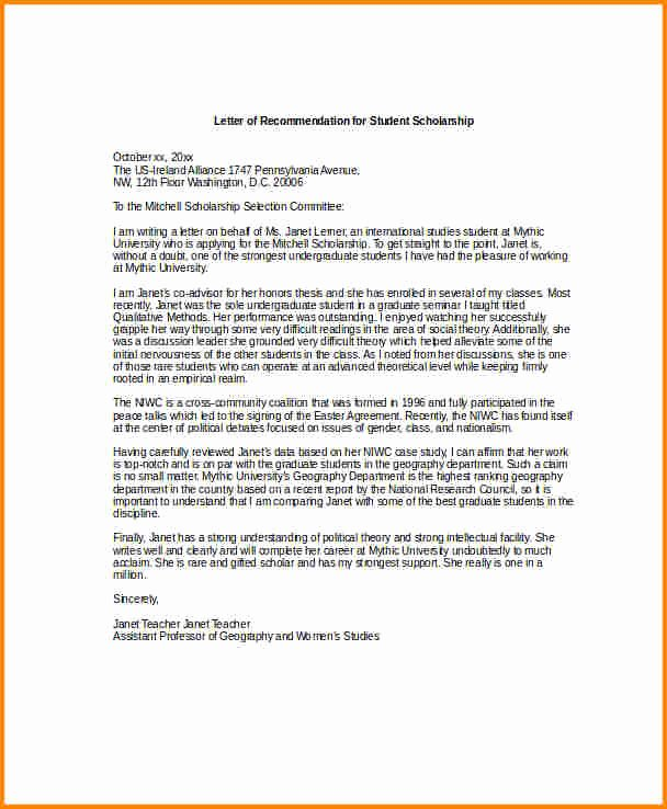 Fulbright Letter Of Recommendation Elegant 5 Sample College Scholarship Re Mendation Letter