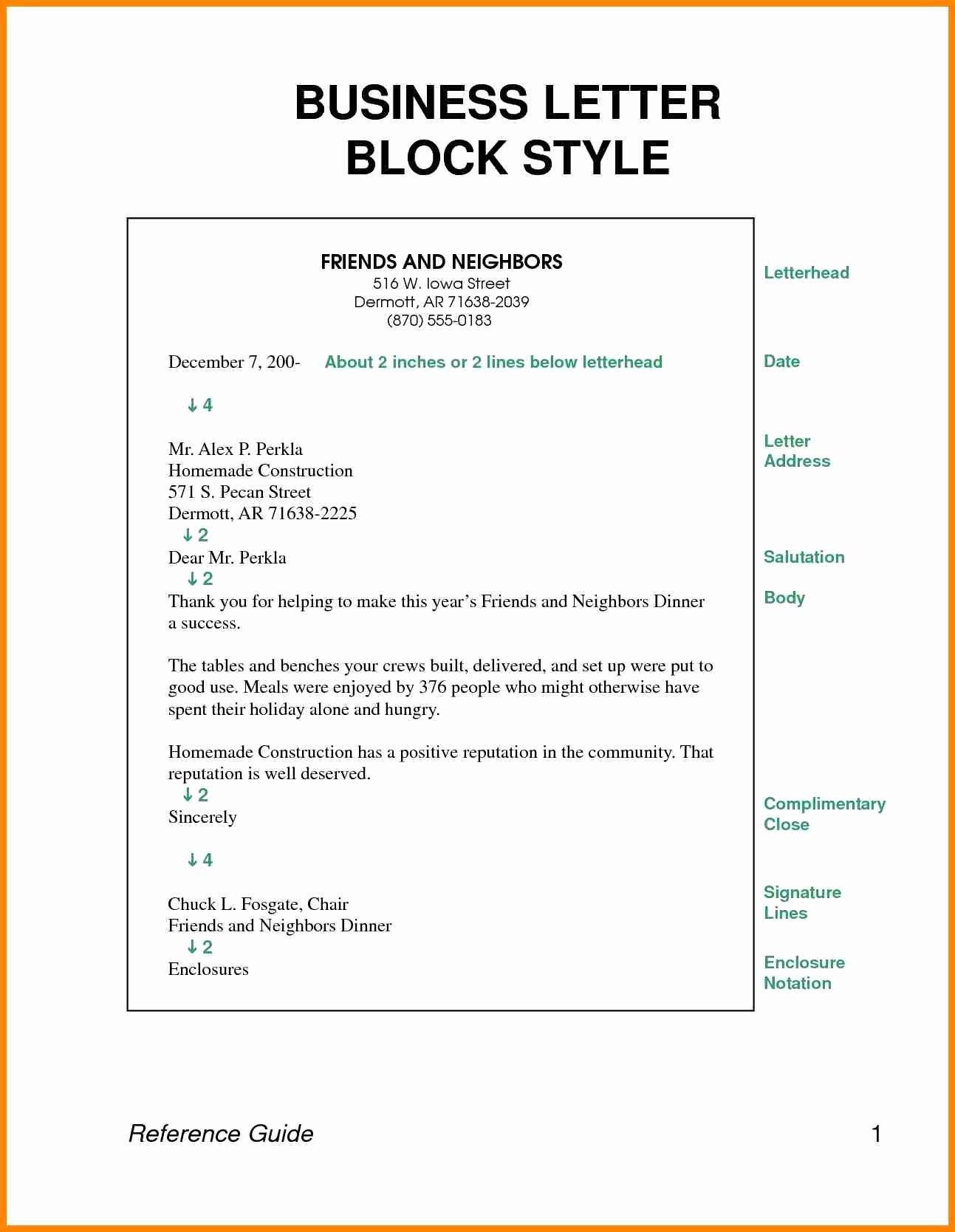 Full Block Business Letter format Beautiful 10 Example Of Full Block Style