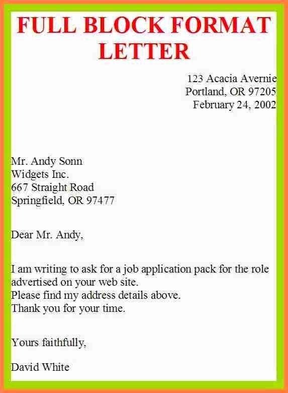 Full Block Business Letter format Beautiful Example Full Block Style Letter Letter Of Re Mendation