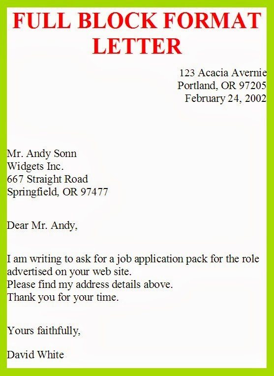 Full Block Business Letter format Fresh Business Letter Template Full Block Style