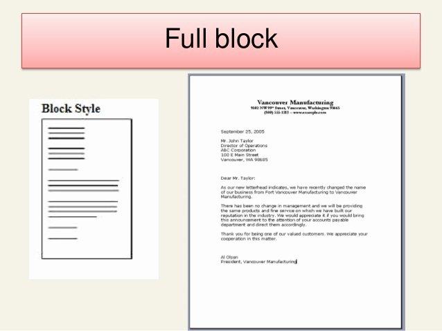 Full Block Business Letter format Unique Business Letter Final