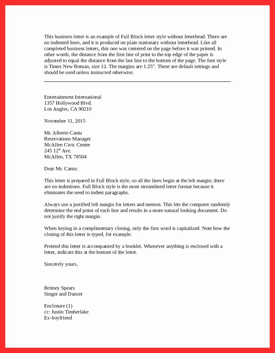Full Block Letter format Inspirational Letter format Styles