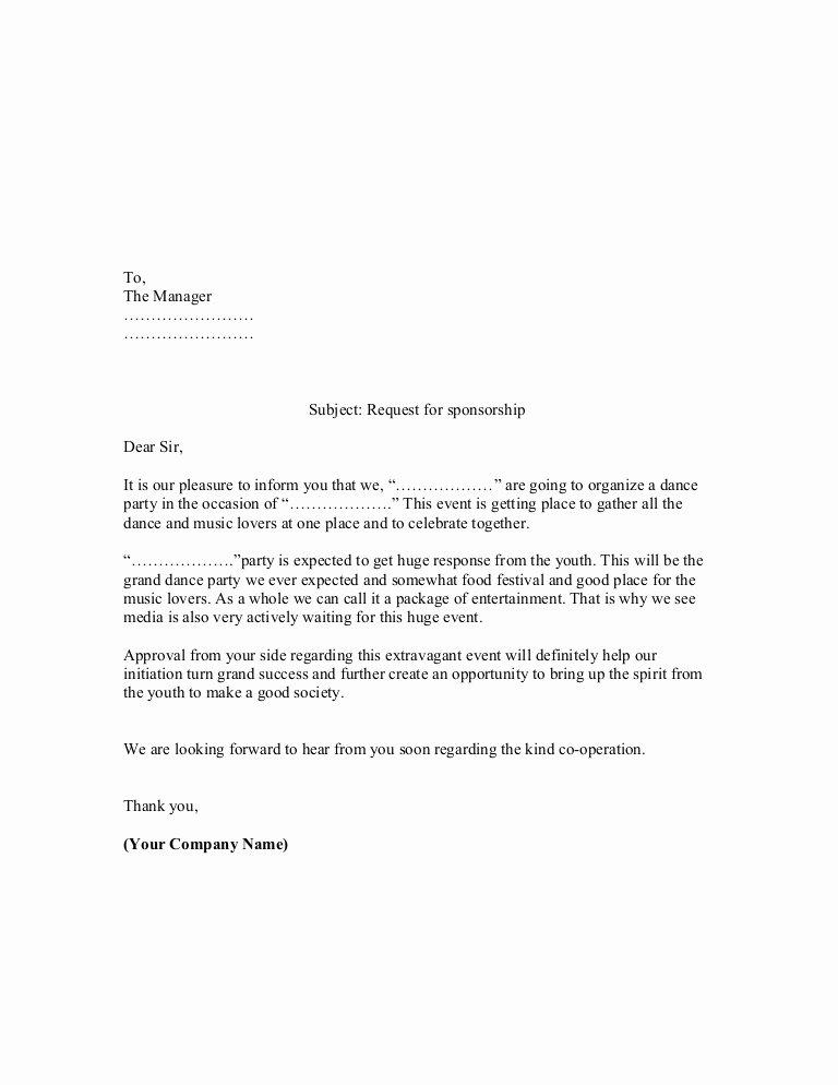 Fundraiser Proposal Letter Best Of Proposal Sample Of Sponsorship Letter