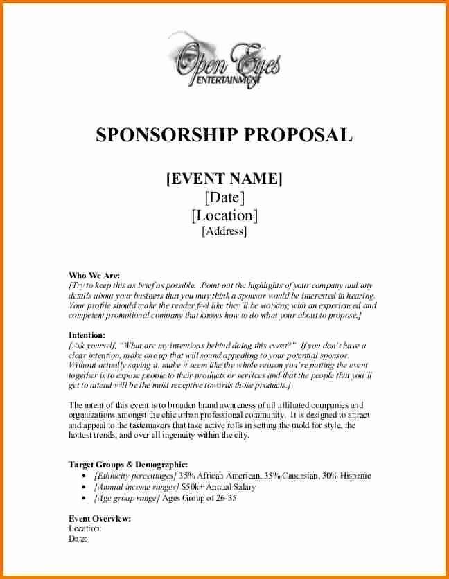 Fundraiser Proposal Letter Luxury Sponsorship Proposal Sponsor