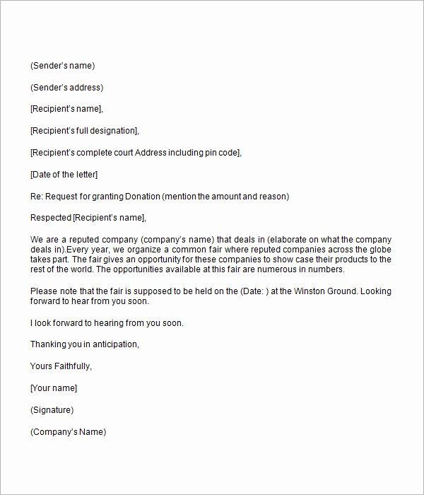 Fundraiser Proposal Letter Unique Donation Request Letter 8 Free Download for Word