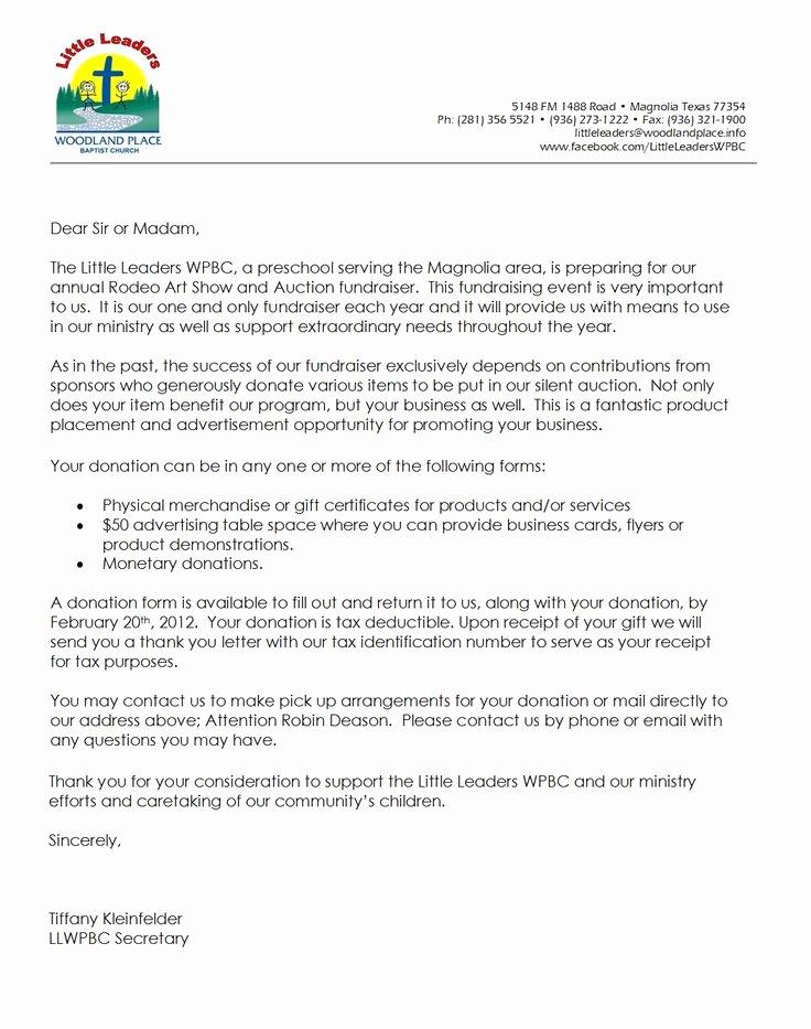 Fundraiser Proposal Letter Unique Letter for Donations