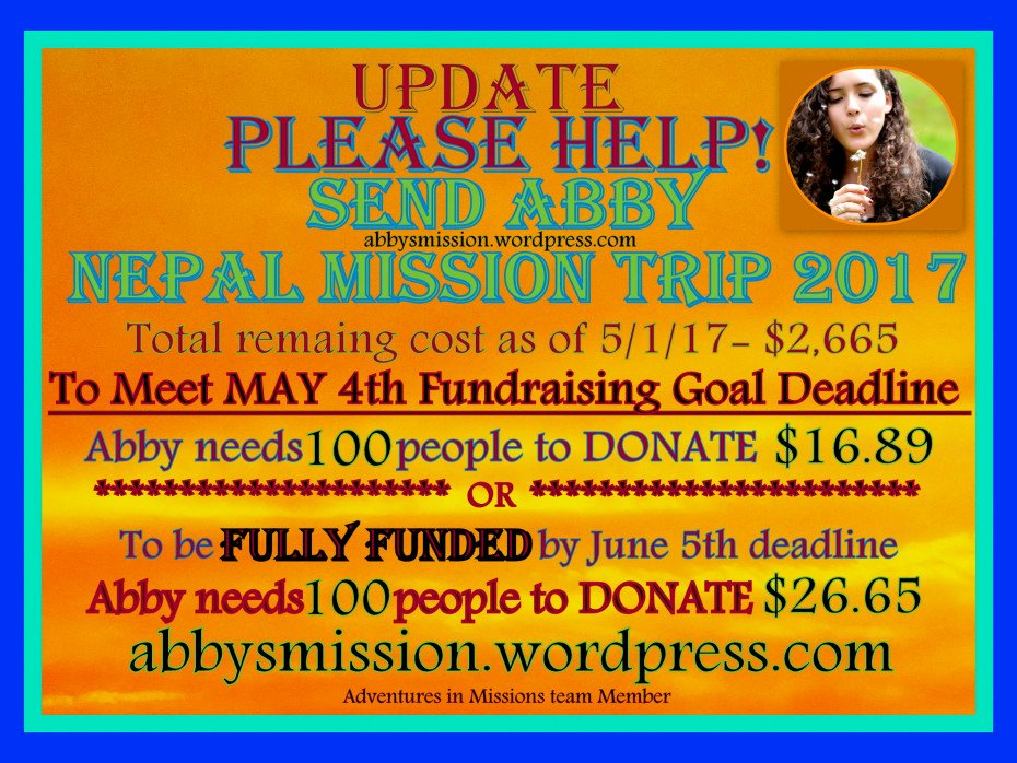 Fundraising Letter for Mission Trip Elegant Fundraising Update 5 1 2017