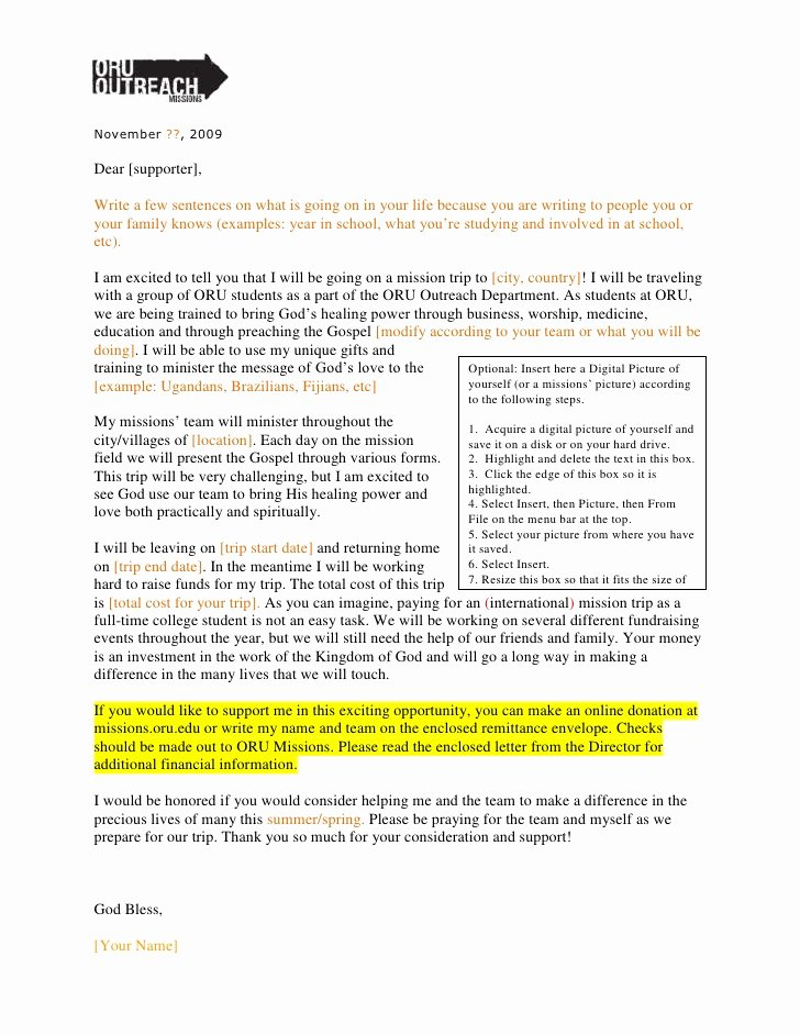 Fundraising Letters for Mission Trips Inspirational oru Outreach Fundraising Letter 09
