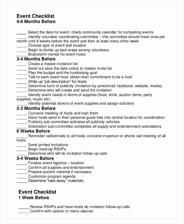 Fundraising Plan Template Excel Fresh event Planning Checklist 11 Free Word Pdf Documents