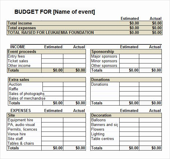 Fundraising Plan Template Excel Luxury 7 event Bud Templates