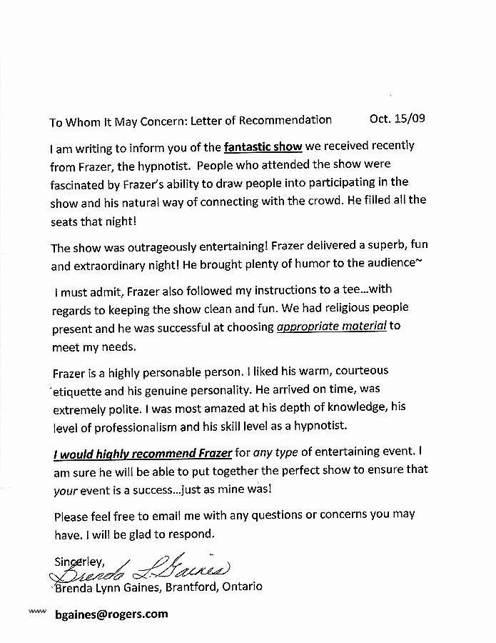 Funny Letter Of Recommendation Inspirational Letter Re Mendation Generator Collection solutions Re