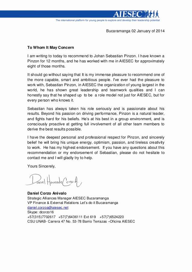 Funny Letter Of Recommendation Luxury Letter Of Re Mendation Aiesec Carta De Re Endación