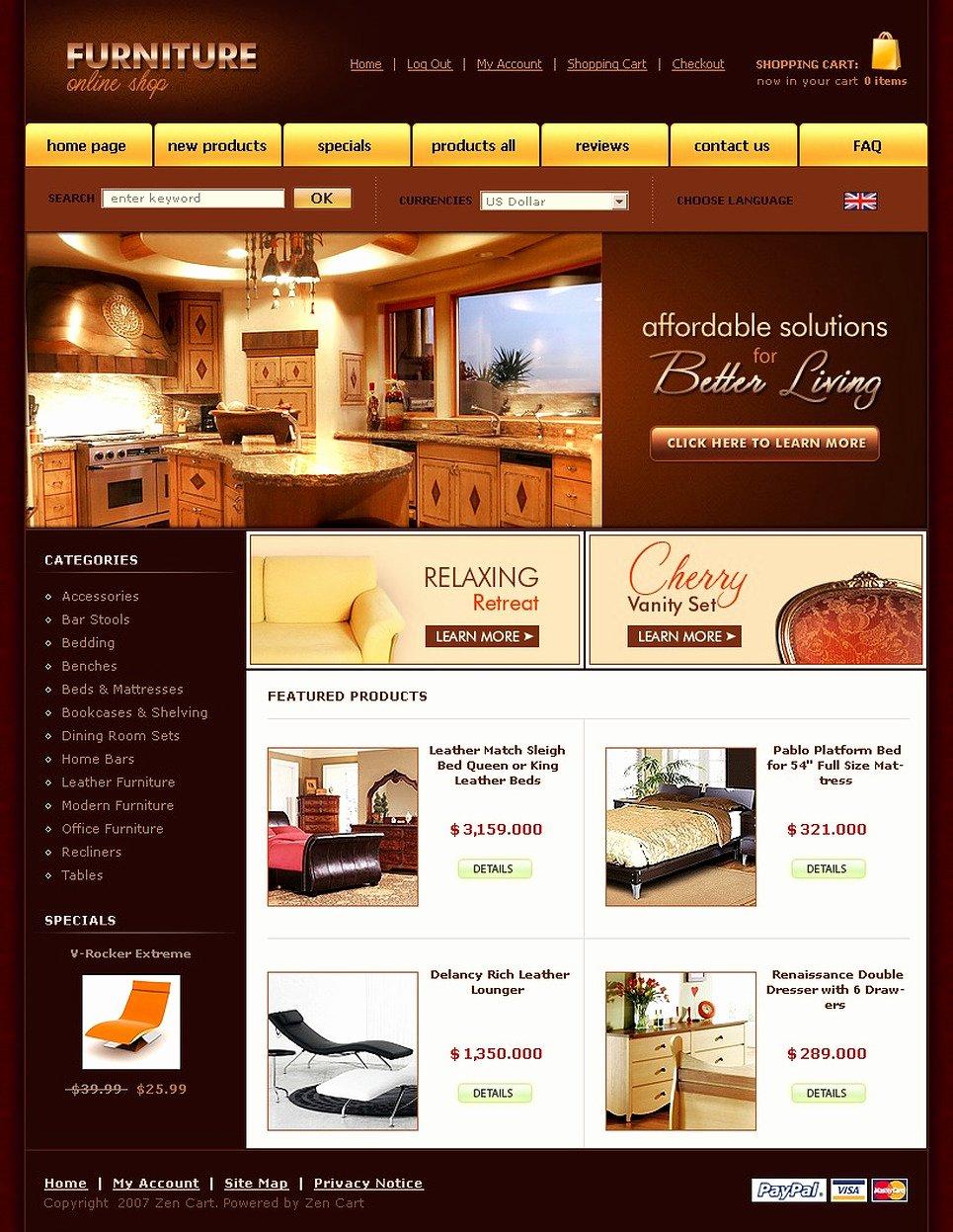 Furniture Templates Free Download Unique Furniture Zencart Template Web Design Templates Website