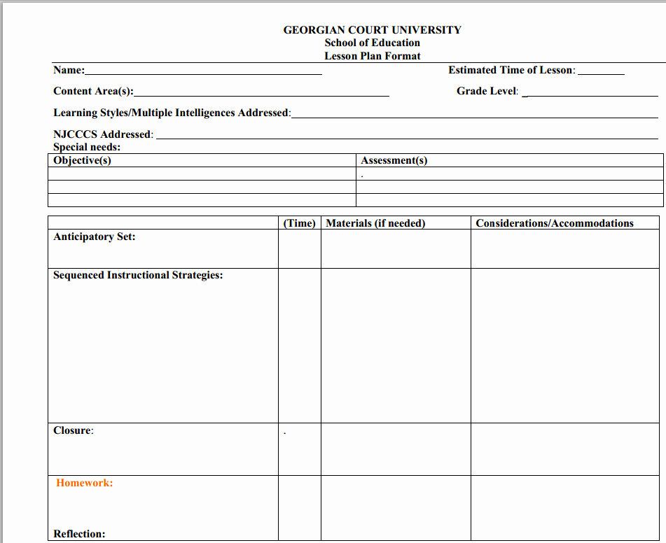 Gcu Lesson Plan Template Beautiful Sample Lesson Plan formats for Collaboration
