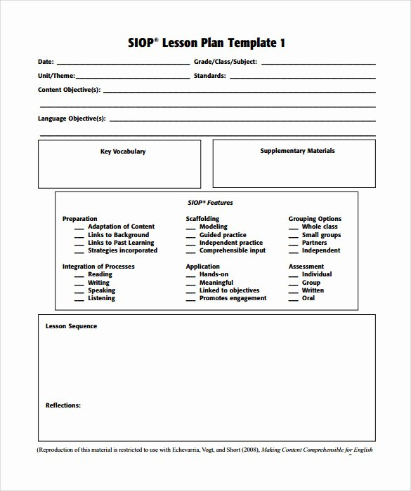 Gcu Lesson Plan Template Inspirational 9 Siop Lesson Plan Templates