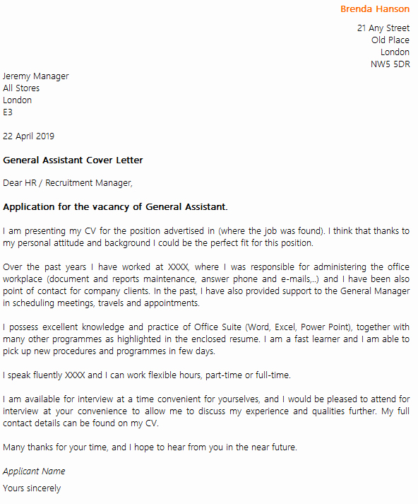General Cover Letter format Beautiful General assistant Cover Letter Example Icover