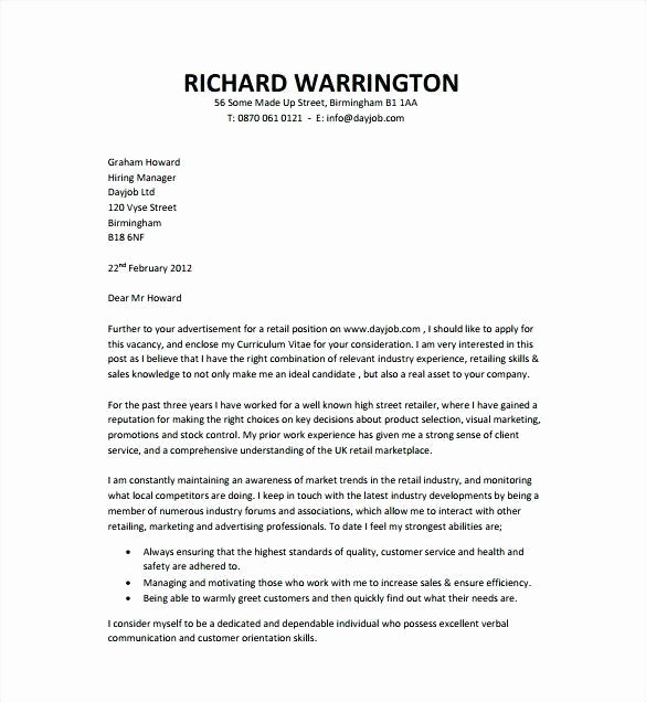 General Cover Letter format Fresh Employment Cover Letter Template
