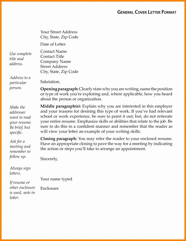 General Cover Letter format Fresh Generic Cover Letters