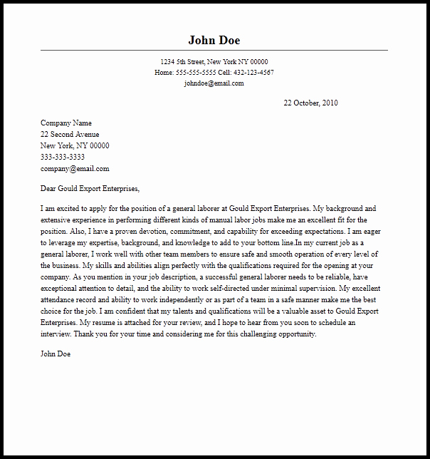 General Cover Letter format New Professional General Laborer Cover Letter Sample & Writing