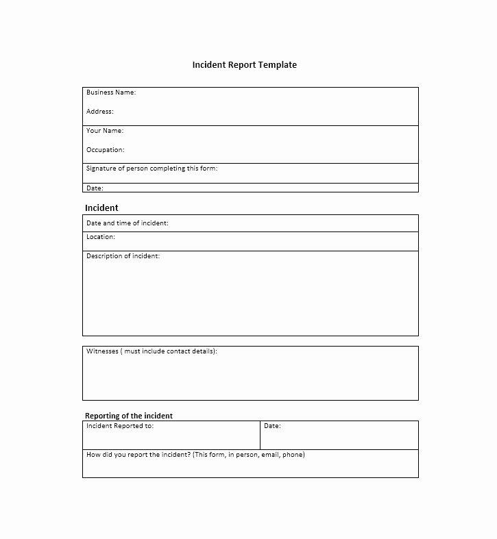 Generic Incident Report Template Best Of 60 Incident Report Template [employee Police Generic]