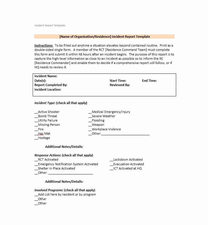 Generic Incident Report Template Best Of 60 Incident Report Template [employee Police Generic